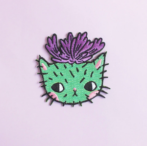 """Cactus Cat"" - Embroidered Patch"