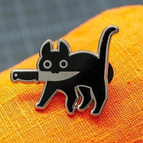 """Knife Cat"" - Enamel Pin (Original)"