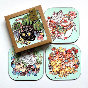 """Flower Power Cats"" - Set of coasters"
