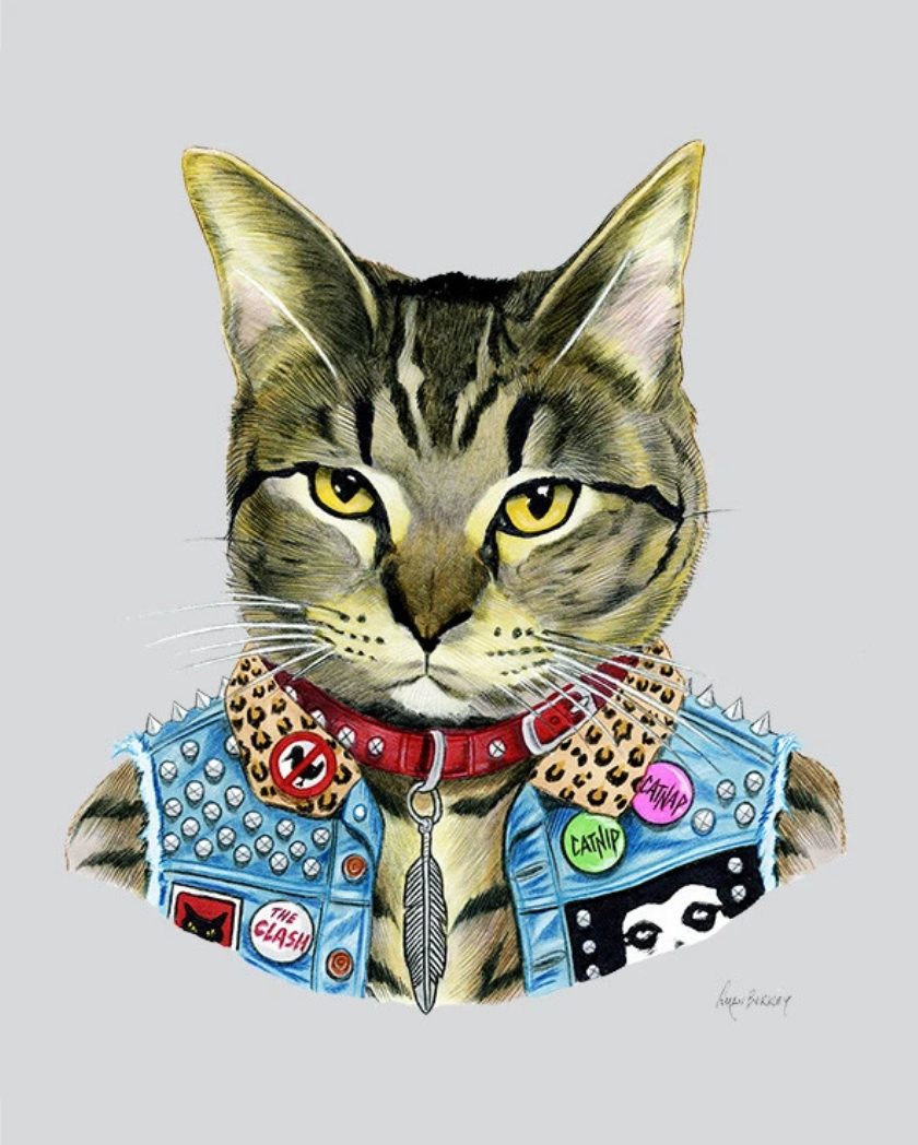 """Punk Rock Cat"" - Cat art print"