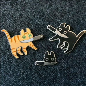"""Tiny Knife Cat"" - Enamel Pin"