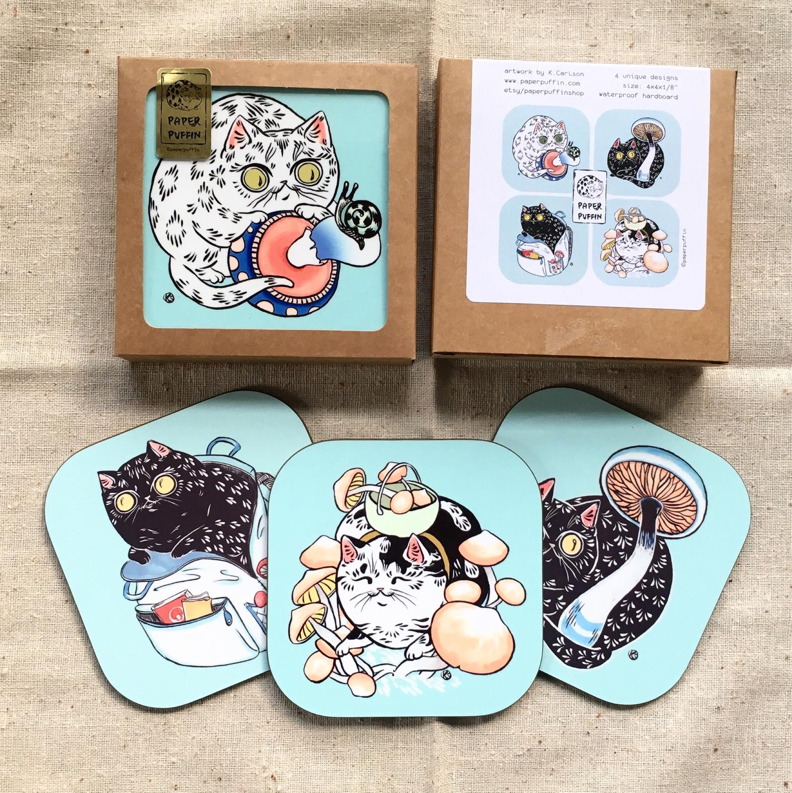 """Mushroom Forager Cats"" - Set of coasters"