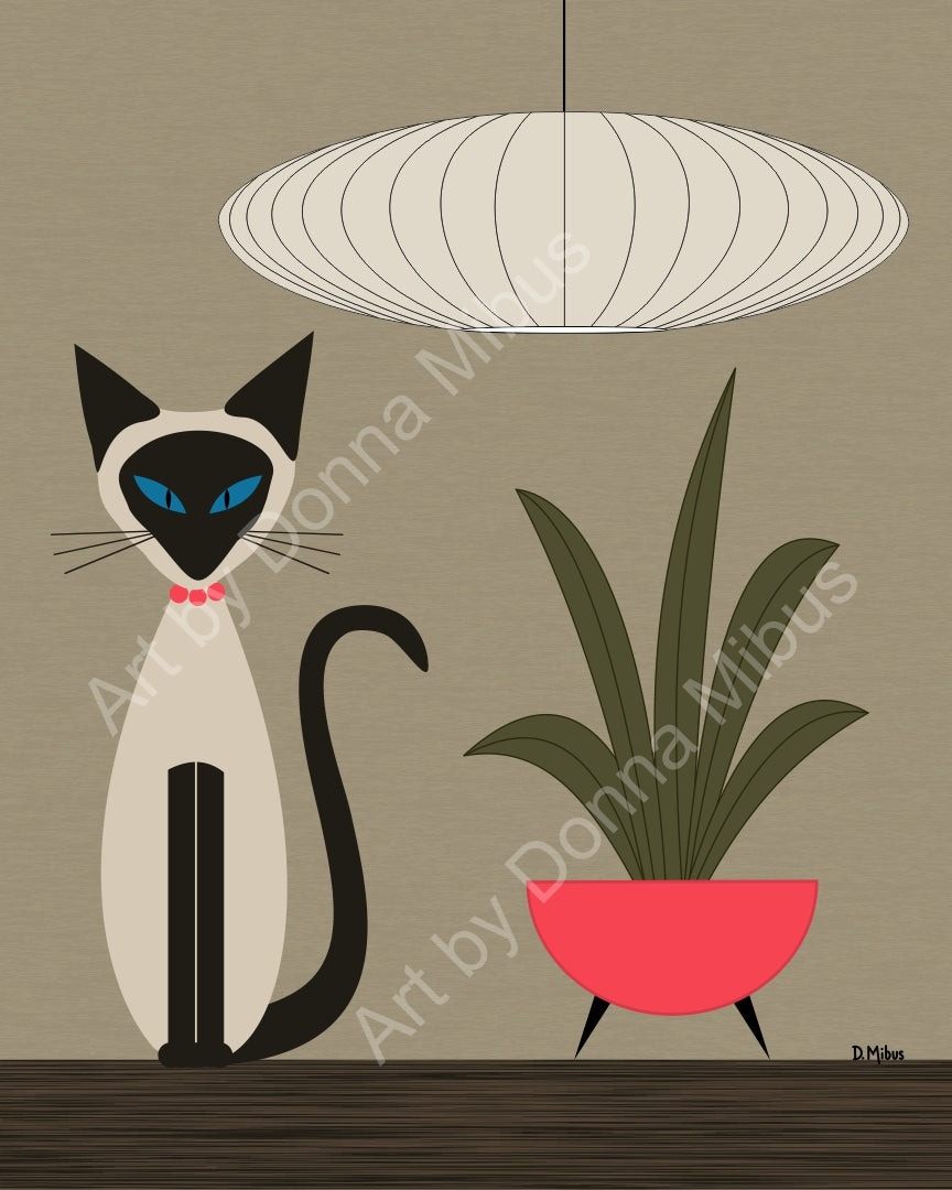 "Modern Cat Art- ""Siamese cat with plant"" (8"" x 10"")"