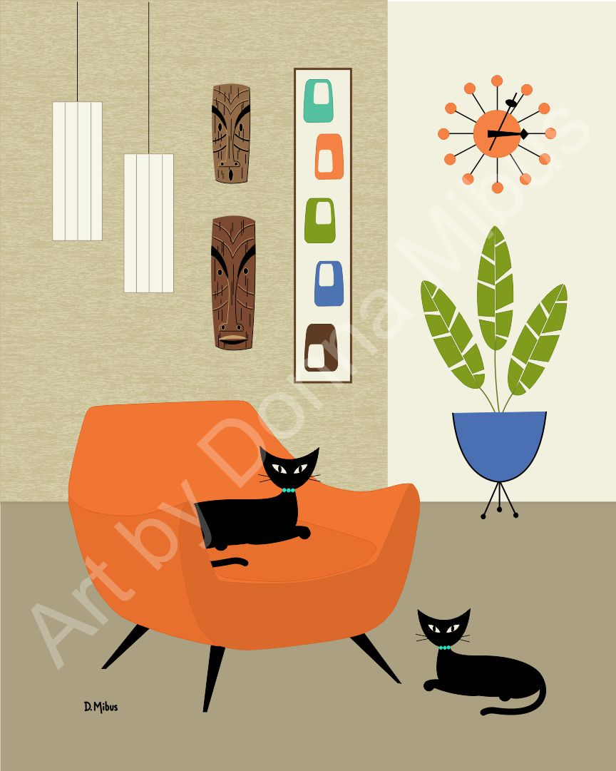 "Modern Cat Art - ""Black Cats with Tiki Masks"" (8"" x 10"")"