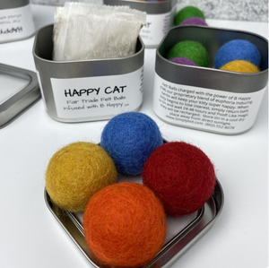 Catnip-infused Felted Balls + Recharging Tin
