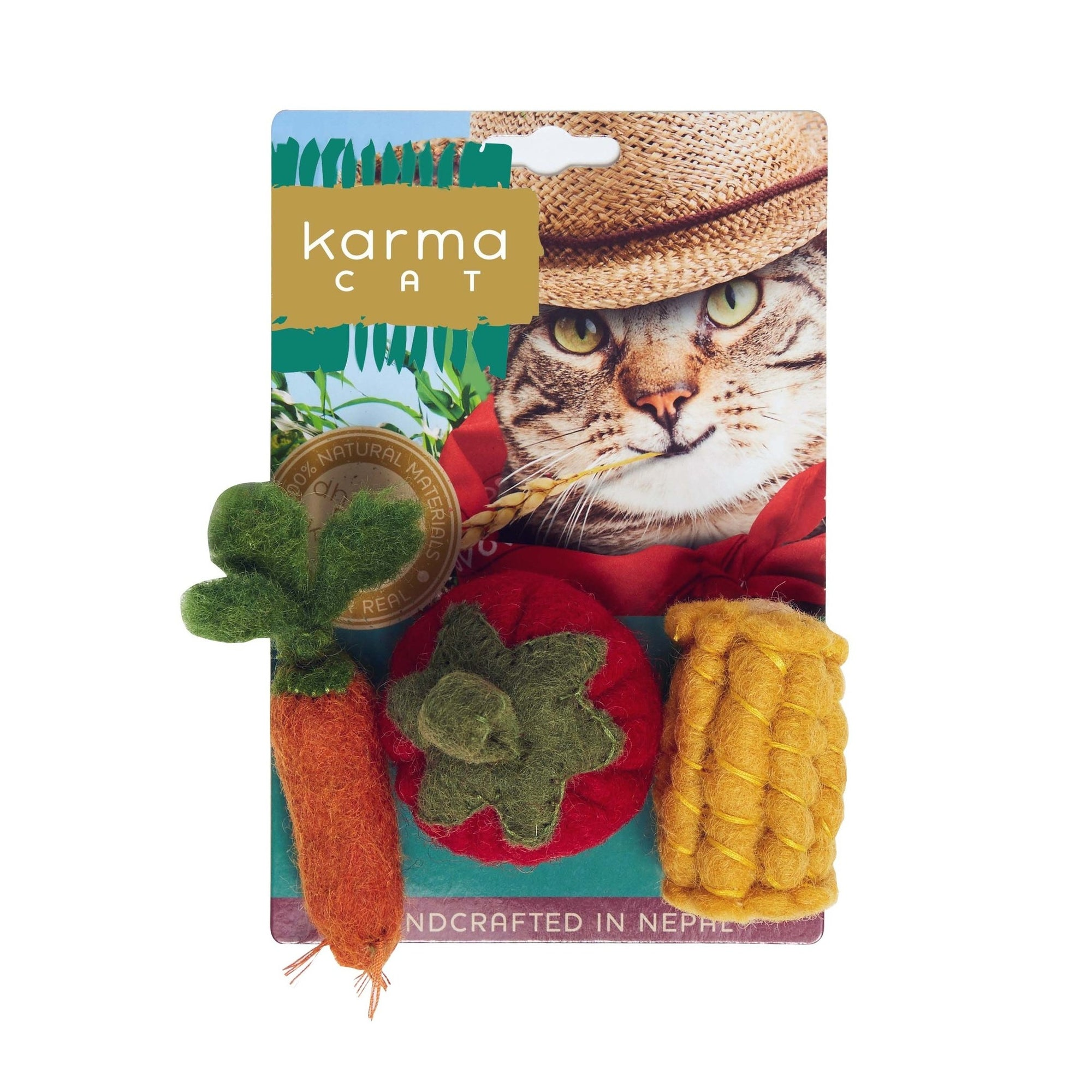 """Farmer Cat's Veggies"" - Wool Cat Toys"