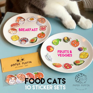 """Fruit & Veggie Cats"" - 10 pack of stickers"