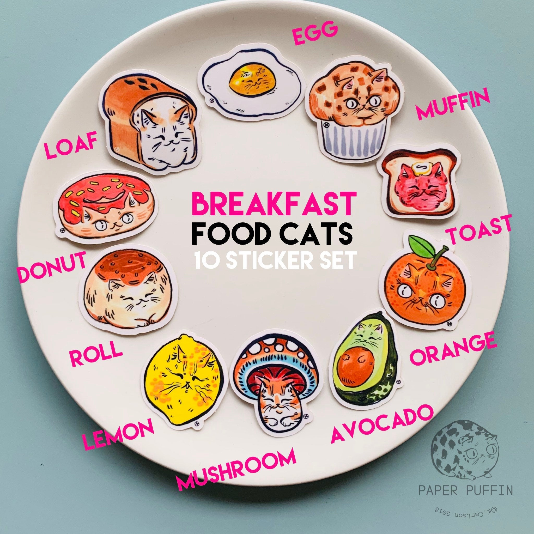 """Breakfast Cats"" - 10 pack of stickers"
