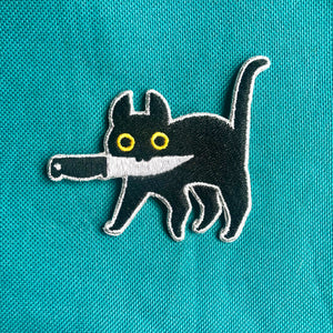 """Knife Cat"" Embroidered Patch"