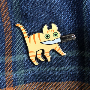 """Knife Cat"" - Enamel Pin (Orange Stripey)"