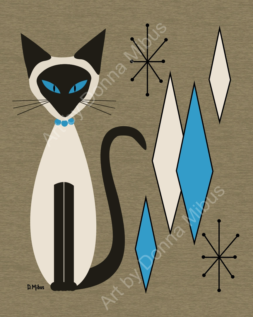 "Modern Cat Art- ""Siamese Cat with Diamonds"" (8""x10"")"