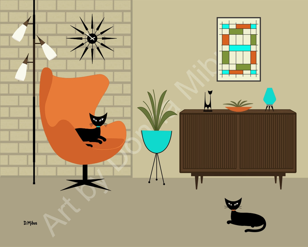 "Modern Cat Art - ""Black Cats with Orange Egg Chair"" (8"" x 10"")"