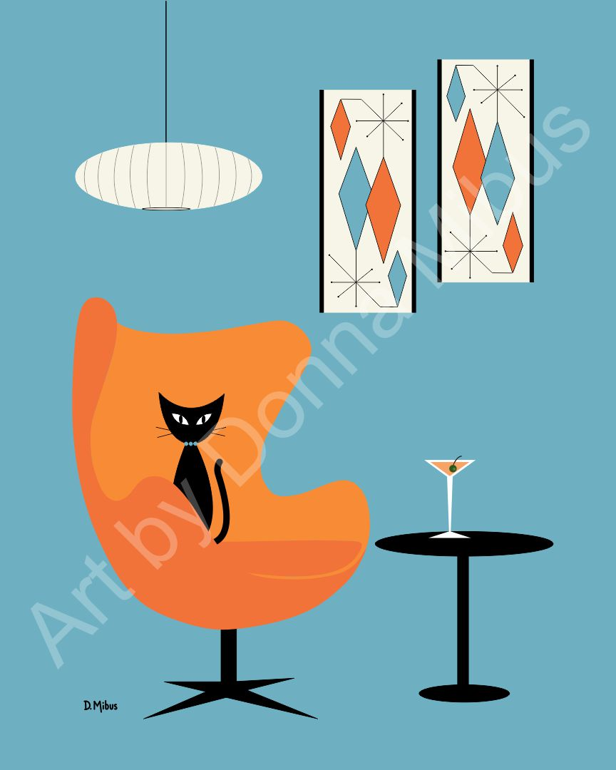 "Modern Cat Art - ""Black Cat with Martini"" (8"" x 10"")"