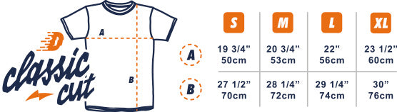 Dirt Industries Classic Cut T-Shirt Size Guide