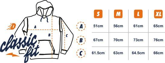 Dirt Industries Classic Cut Hoodie Size Guide