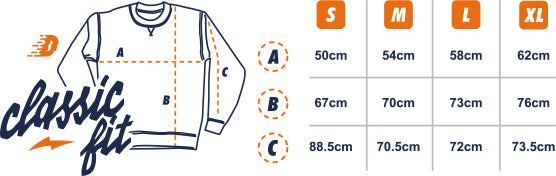 Dirt Industries Classic Cut Sweatshirt Size Guide