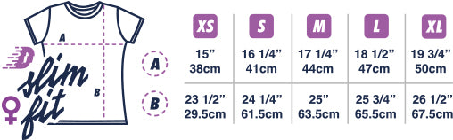 Dirt Industries Womens Cut T-Shirt Size Guide