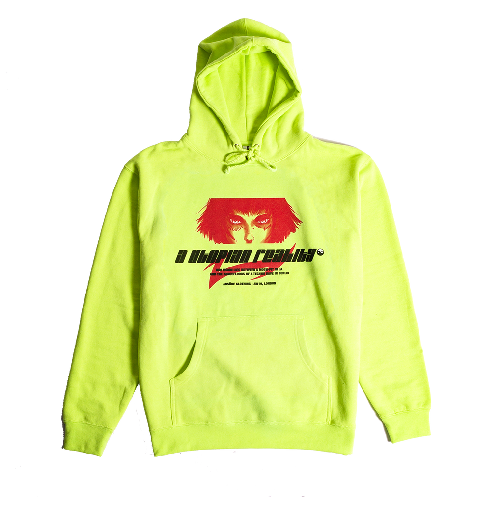 A UTOPIAN REALITY NEON YELLOW HOODIE - ABSÜRE CLOTHING