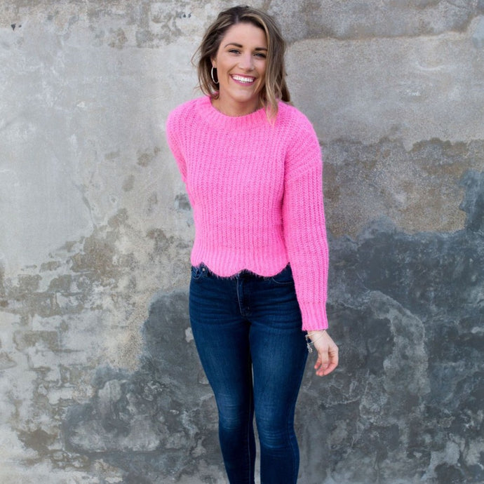 All The Snugs Scallop Sweater- Hot Pink