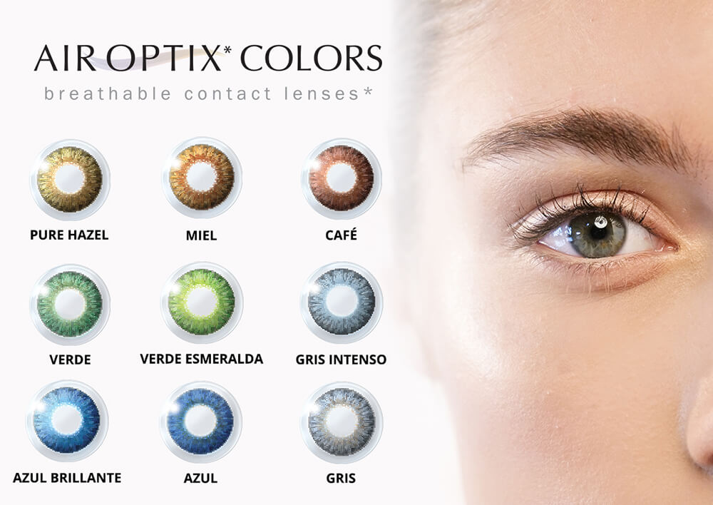 Air Optix Colors Lentes de contacto de color neutros. Colores de lentes de contacto:  pure hazel, miel, café, verde, verde esmeralda, gris intenso, azul brillante, azul, gris. Compra en Lentematic tus pupilentes de color