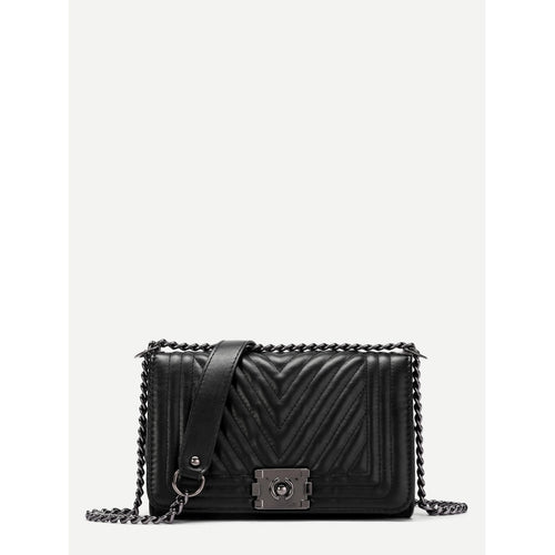 Chevron Stitch Chain Crossbody Bag