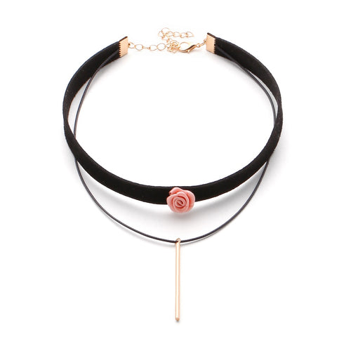 Bar And Pink Flower Choker