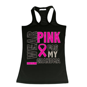 I Wear Pink For My Grandma Breast Cancer Tank (Multiple Colors)