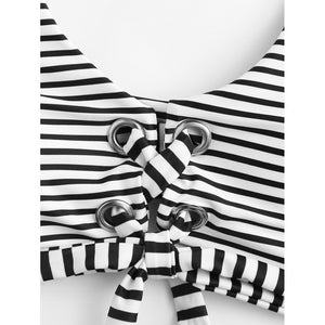 Lace Up Striped Bikini