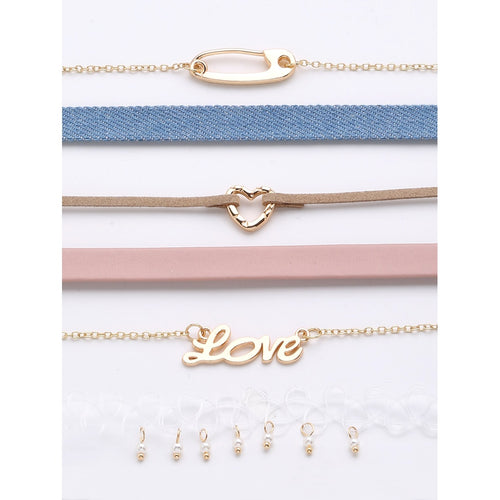 Letter Love & Heart Choker Set 6pcs