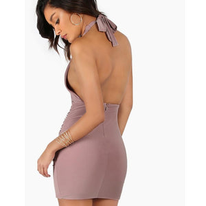 Backless Cut Out Halter Dress