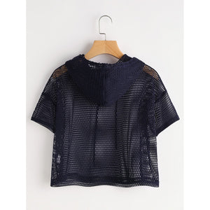 Crop Top Fishnet Hooded Top