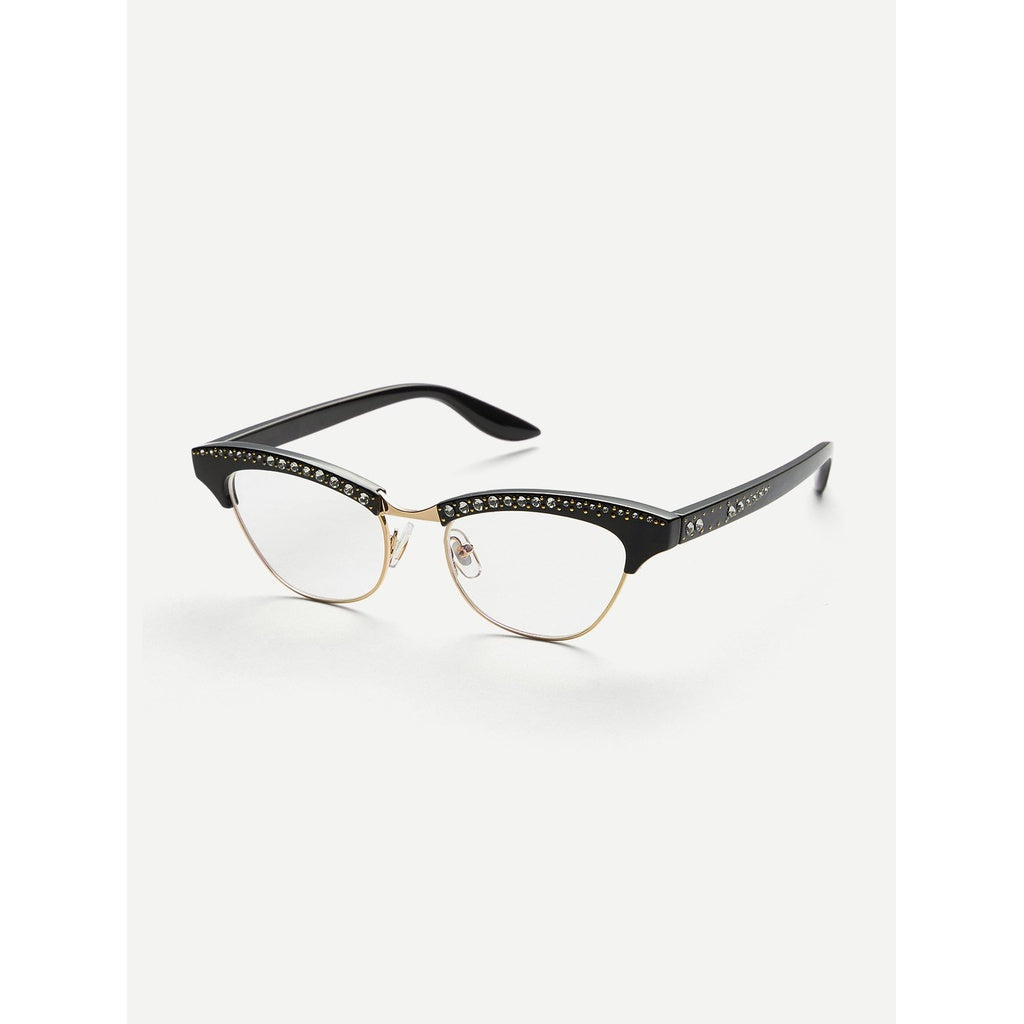 Rhinestone Decorated Flat Lens Glasses