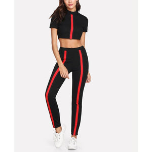 Contrast Crop Top And Leggings Set