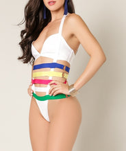 Strappy Color Blocked Swimsuit