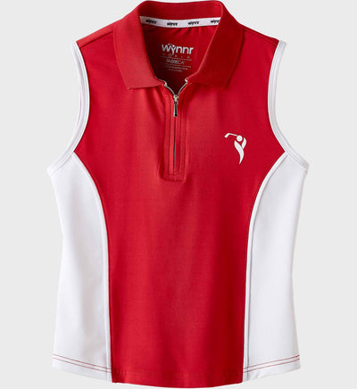 Girls Junior Golf Sleeveless Red & White Performance Polo Shirt