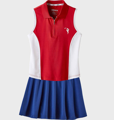 Girls Junior Golf Sleeveless Red & White Performance Polo Shirt and Navy Performance Skort