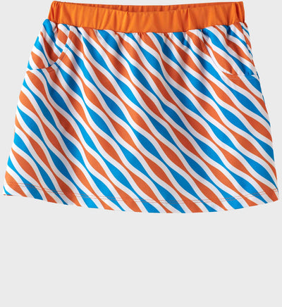 Girls Junior Golf Blue Orange Pattern Performance Skort