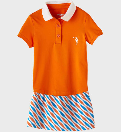 Girls Junior Golf Short Sleeve Orange Performance Polo Shirt and Blue Orange Pattern Performance Skort
