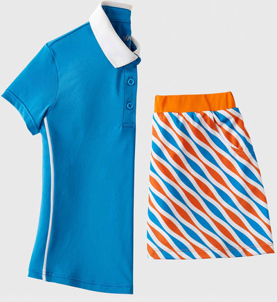 Girls Junior Golf Short Sleeve Blue Performance Polo Shirt and Blue Orange Pattern Performance Skort