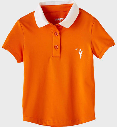 Girls Junior Golf Short Sleeve Orange Performance Polo Shirt