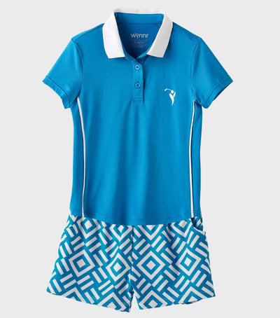 Girls Junior Golf Short Sleeve Blue Performance Polo Shirt and Blue Pattern Performance Short
