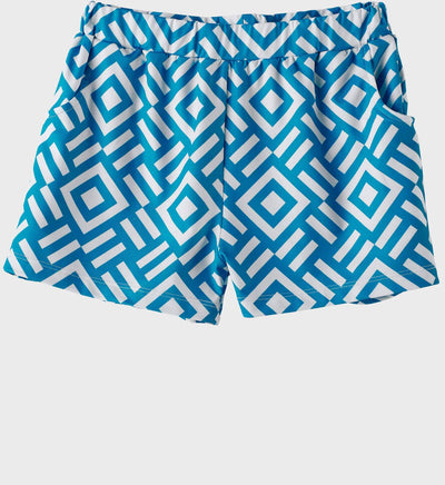 Girls Junior Golf Blue Pattern Performance Short