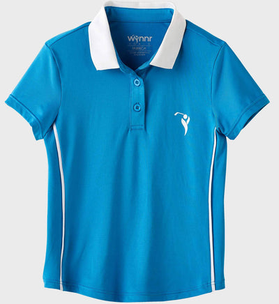 Girls Junior Golf Short Sleeve Blue Performance Polo Shirt