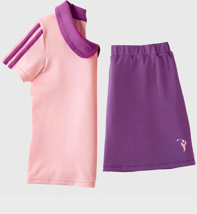Girls Junior Golf Short Sleeve Light Pink Performance Polo Shirt and Purple Performance Short