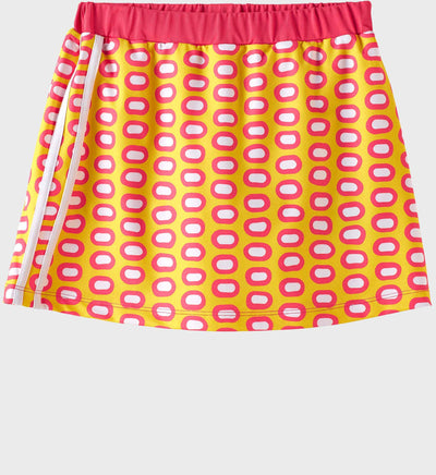 Girls Junior Golf Melon Yellow Pattern Performance Skort