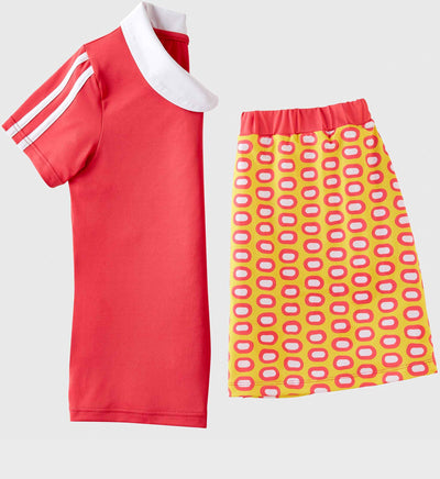 Girls Junior Golf Short Sleeve Melon Performance Polo Shirt and Melon Yellow Pattern Performance Skort