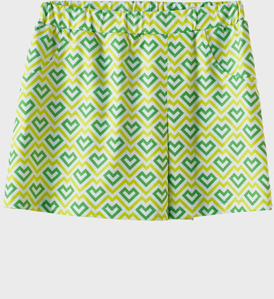 Girls Junior Golf Bright Green Pattern Performance Skort