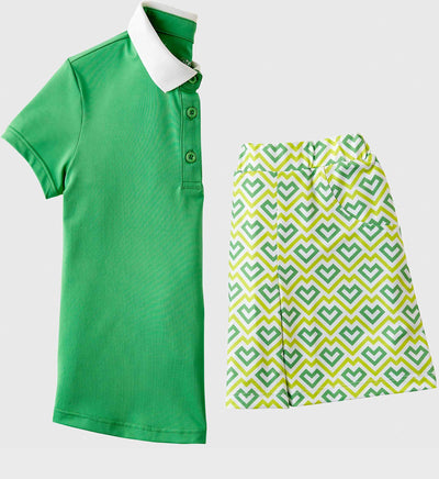 Girls Junior Golf Short Sleeve Bright Green Performance Polo Shirt and Bright Green Pattern Performance Skort