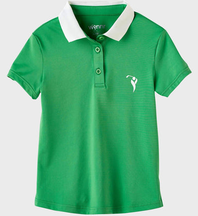 Girls Junior Golf Short Sleeve Bright Green Performance Polo Shirt