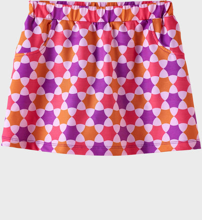 Girls Junior Golf Purple Melon Orange Pattern Performance Skort
